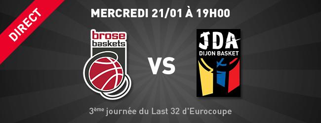 Bamberg - JDA en direct sur Dijon Sport News