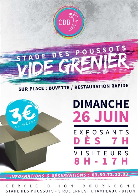 vide grenier du cdb le 26 juin aux poussots dijon sport news. Black Bedroom Furniture Sets. Home Design Ideas